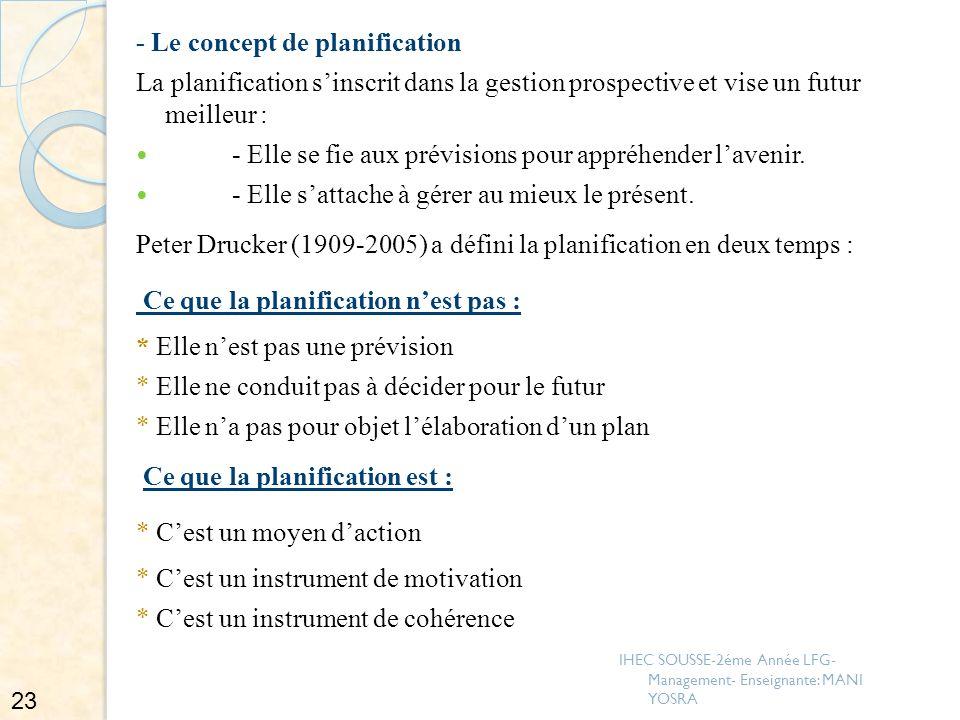 - Le concept de planification