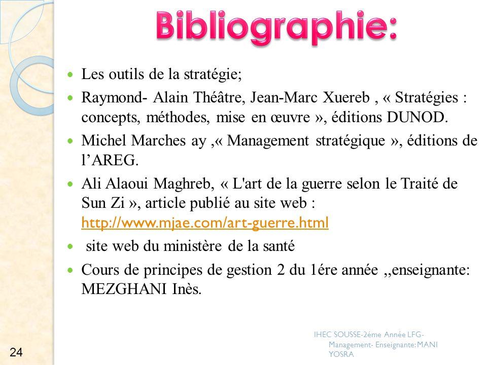 Bibliographie: Les outils de la stratégie;