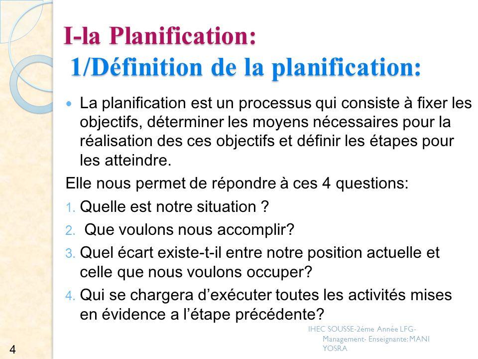 І-la Planification: 1/Définition de la planification: