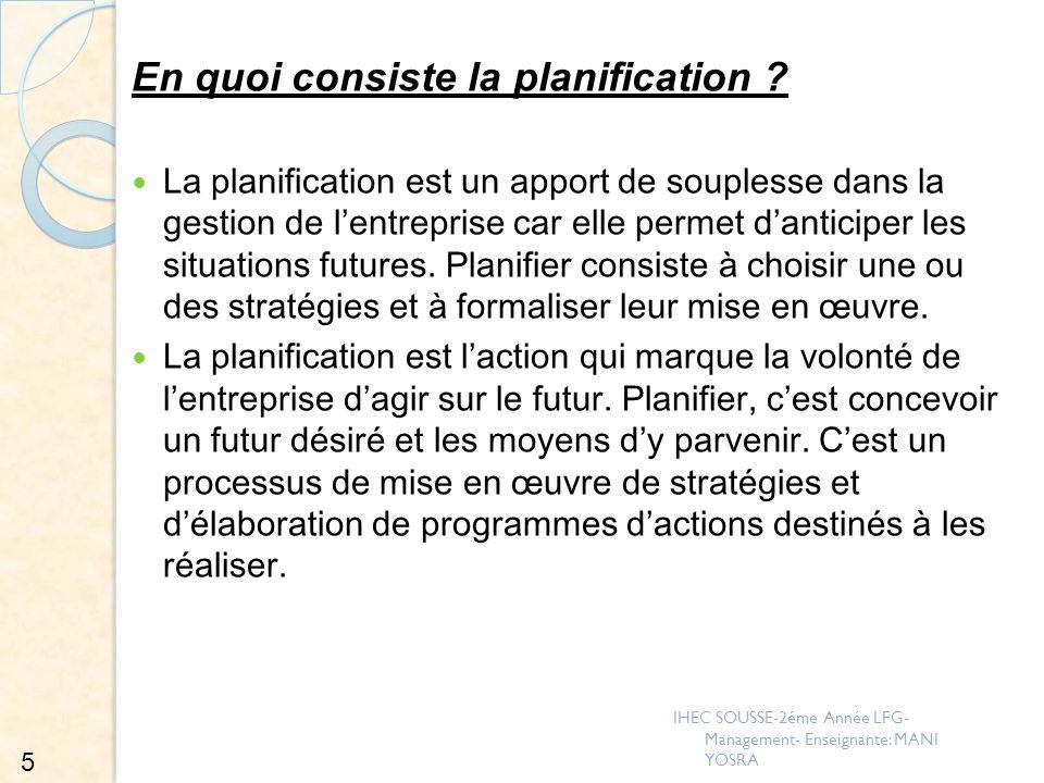 En quoi consiste la planification