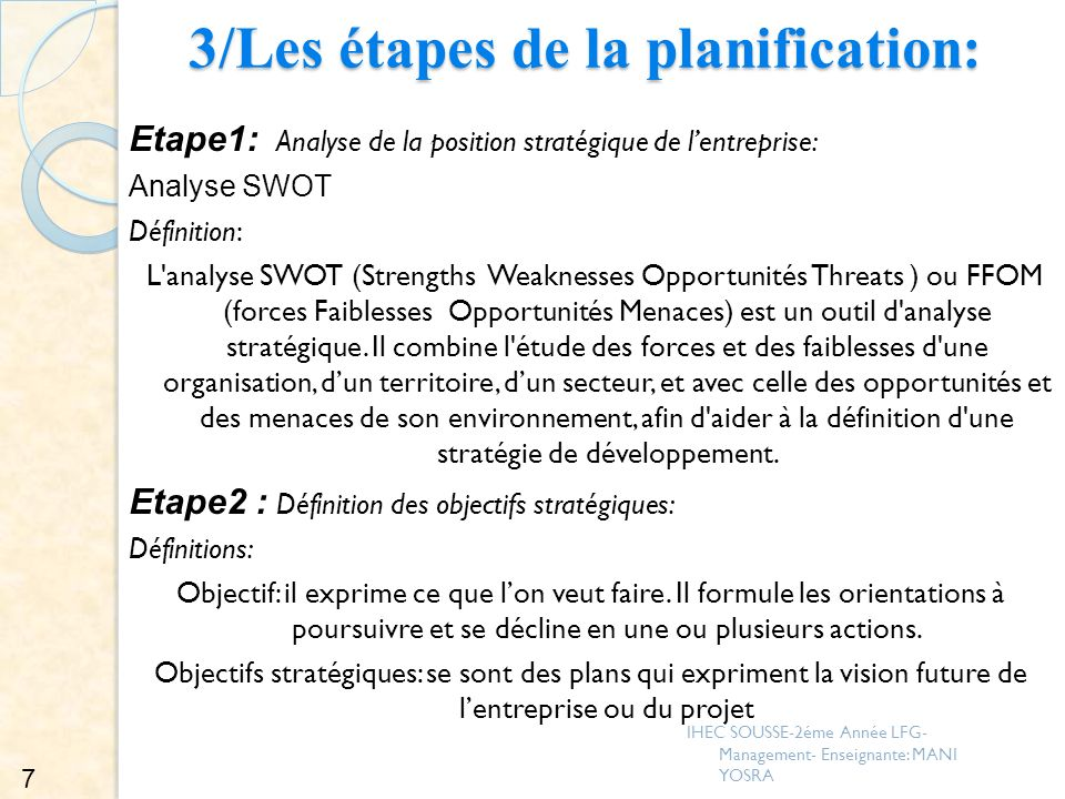 3/Les étapes de la planification: