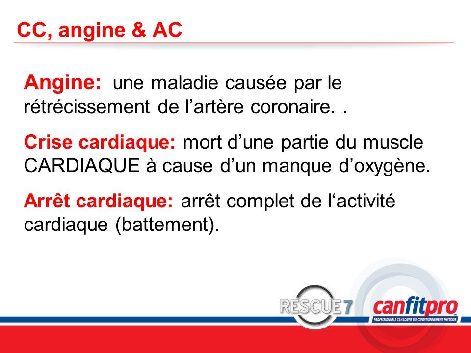CC, angine & AC Angine: une maladie causée par le rétrécissement de l'artère coronaire. .