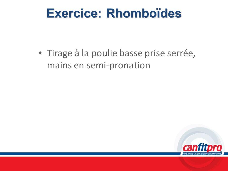 Exercice: Rhomboïdes Tirage à la poulie basse prise serrée, mains en semi-pronation. Chapitre 6. Titre: Concepts musculaires.