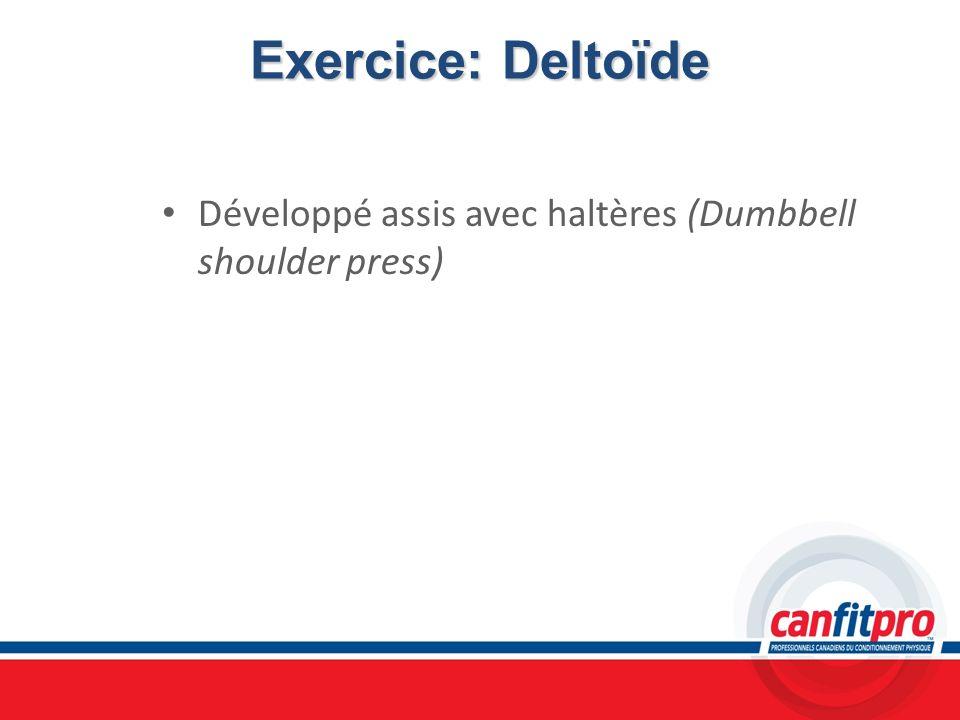 Exercice: DeltoïdeDéveloppé assis avec haltères (Dumbbell shoulder press) Chapitre 6. Titre: Concepts musculaires.