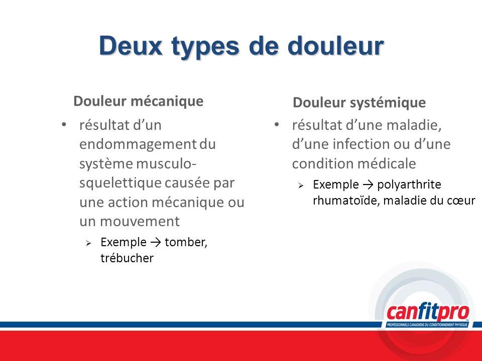 Deux types de douleur Douleur mécanique Douleur systémique