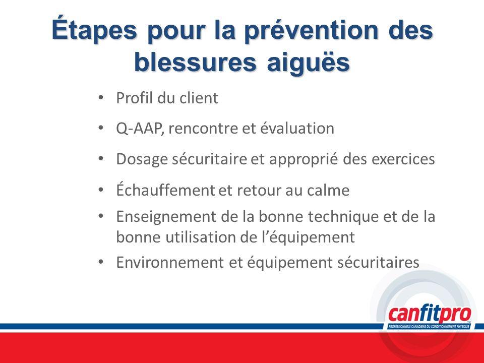 Étapes pour la prévention des blessures aiguës