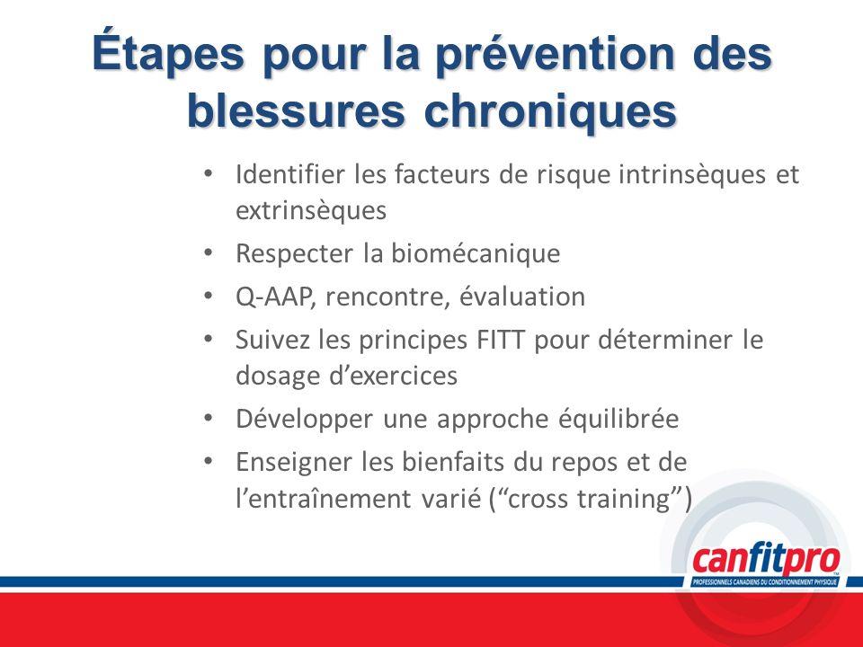 Étapes pour la prévention des blessures chroniques