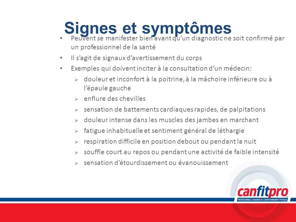 Signes et symptômes Peuvent se manifester bien avant qu'un diagnostic ne soit confirmé par un professionnel de la santé.