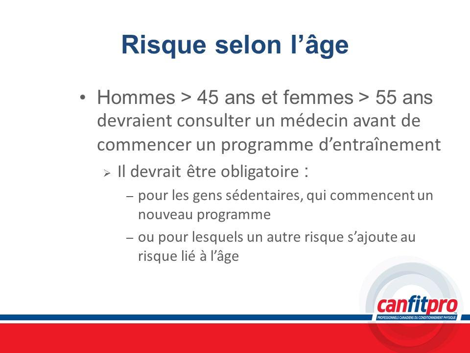 Risque selon l'âgeHommes > 45 ans et femmes > 55 ans devraient consulter un médecin avant de commencer un programme d'entraînement.