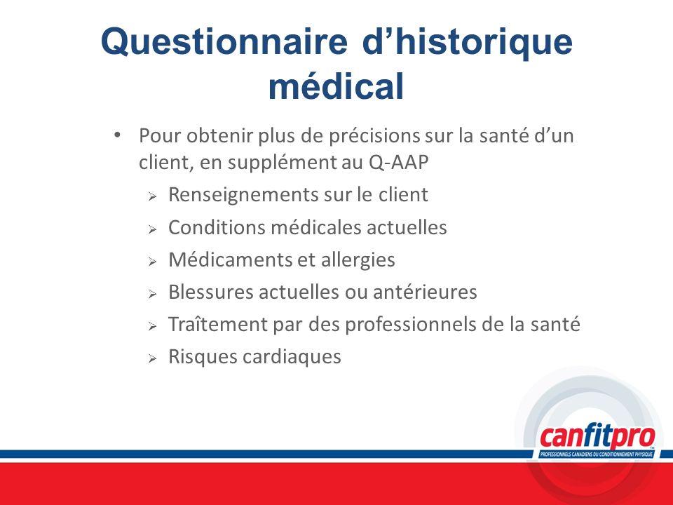 Questionnaire d'historique médical
