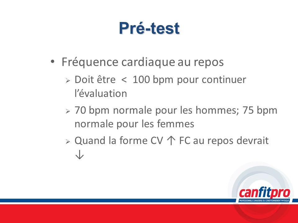 Pré-test Fréquence cardiaque au repos