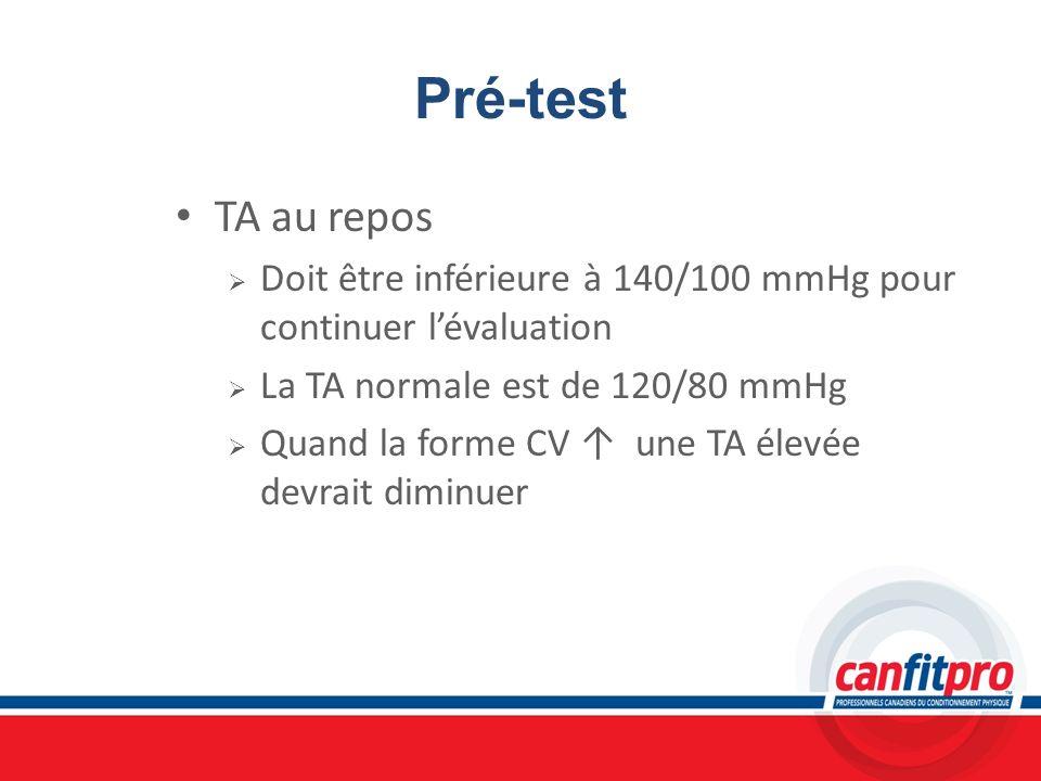 Pré-testTA au repos. Doit être inférieure à 140/100 mmHg pour continuer l'évaluation. La TA normale est de 120/80 mmHg.