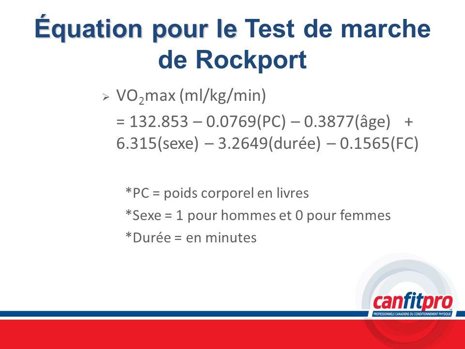 Équation pour le Test de marche de Rockport
