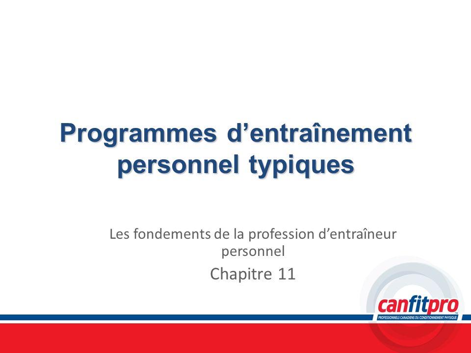 Programmes d'entraînement personnel typiques