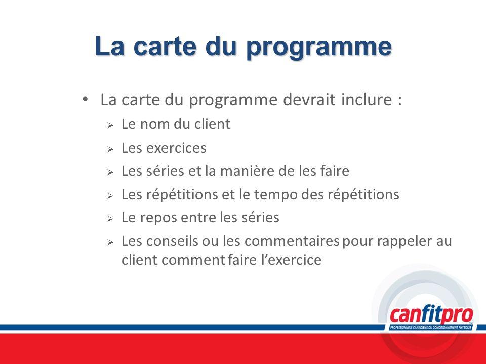 La carte du programme La carte du programme devrait inclure :