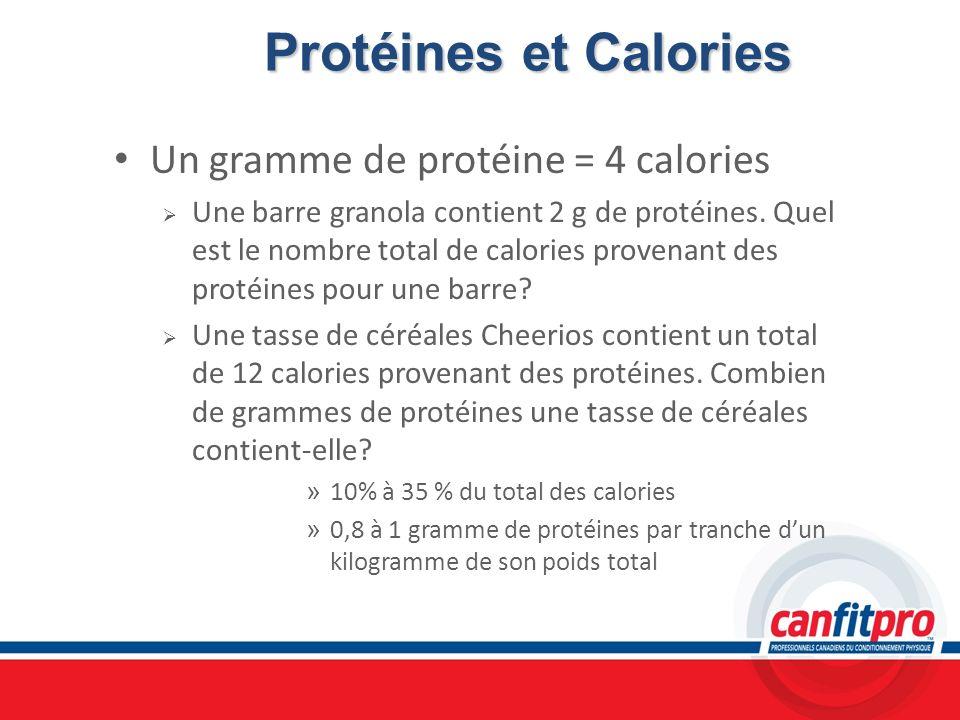 Protéines et Calories Un gramme de protéine = 4 calories