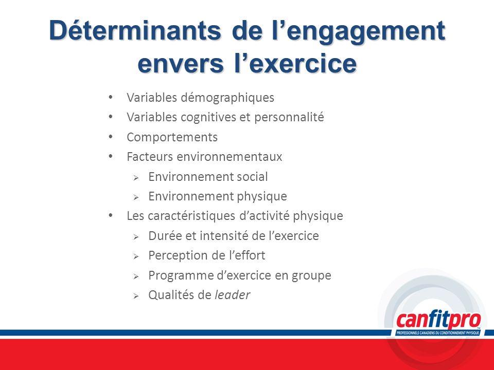 Déterminants de l'engagement envers l'exercice