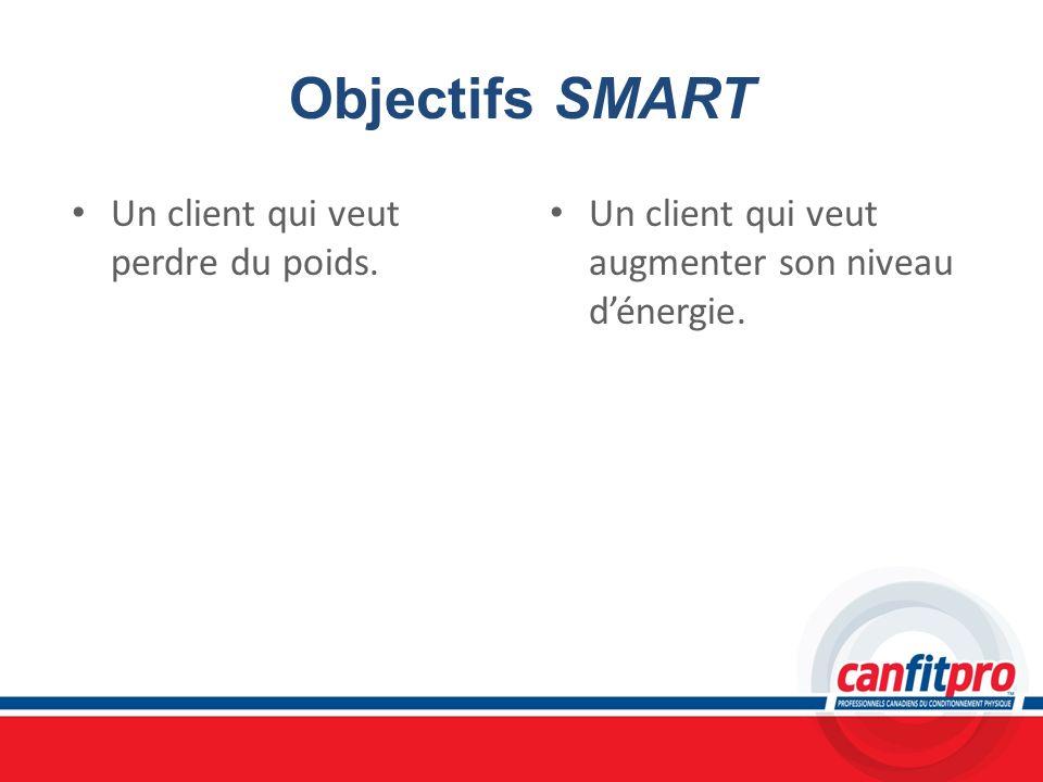 Objectifs SMART Un client qui veut perdre du poids.