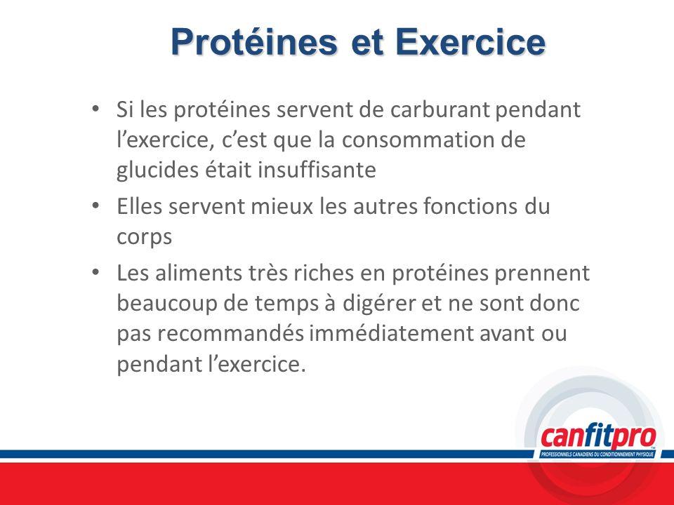Protéines et ExerciceSi les protéines servent de carburant pendant l'exercice, c'est que la consommation de glucides était insuffisante.