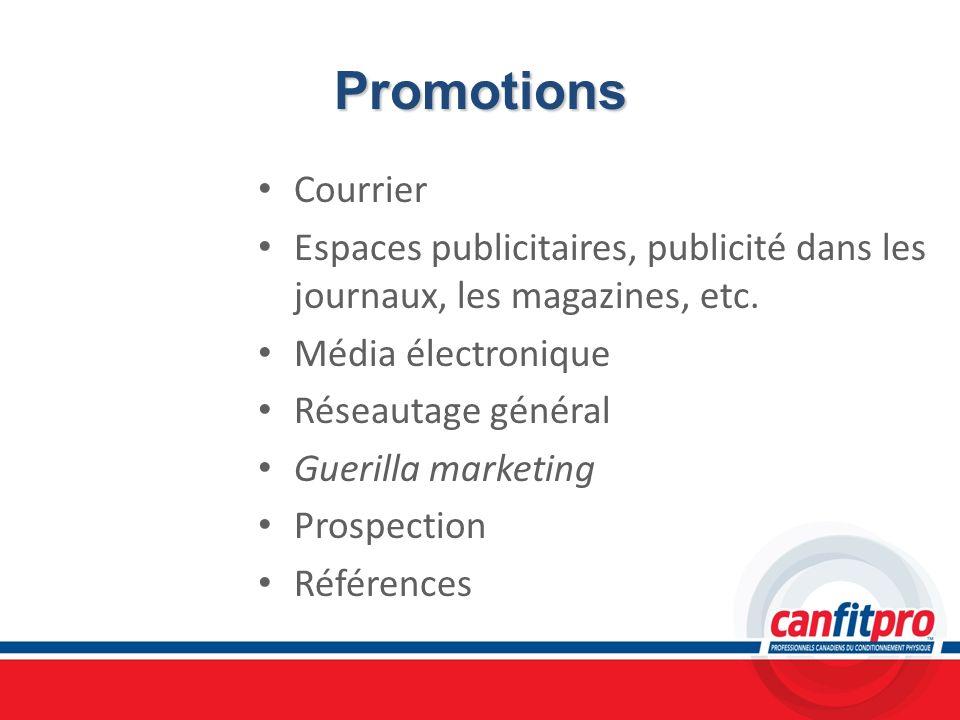 Promotions Courrier. Espaces publicitaires, publicité dans les journaux, les magazines, etc. Média électronique.