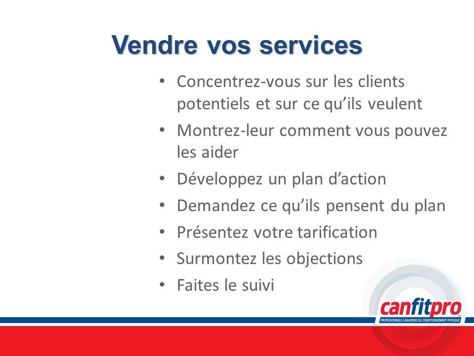 Vendre vos servicesConcentrez-vous sur les clients potentiels et sur ce qu'ils veulent. Montrez-leur comment vous pouvez les aider.