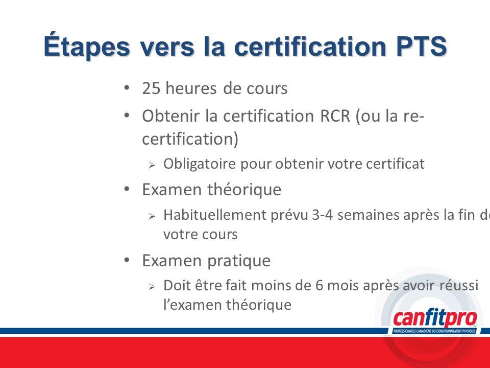 Étapes vers la certification PTS