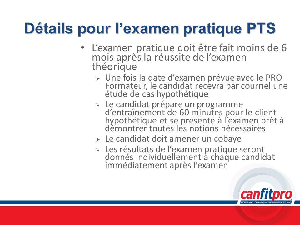 Détails pour l'examen pratique PTS