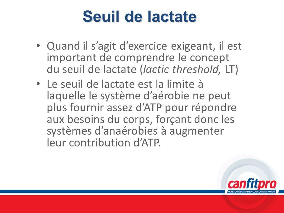 Seuil de lactateQuand il s'agit d'exercice exigeant, il est important de comprendre le concept du seuil de lactate (lactic threshold, LT)