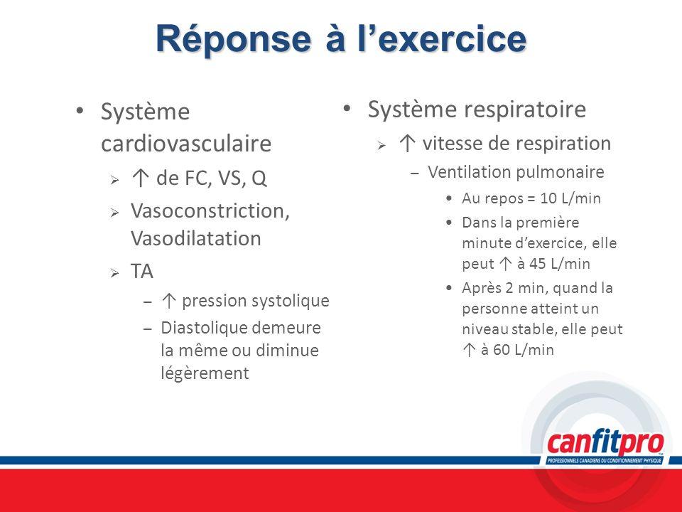 Réponse à l'exercice Système respiratoire Système cardiovasculaire