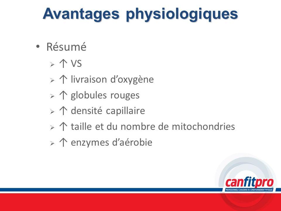 Avantages physiologiques