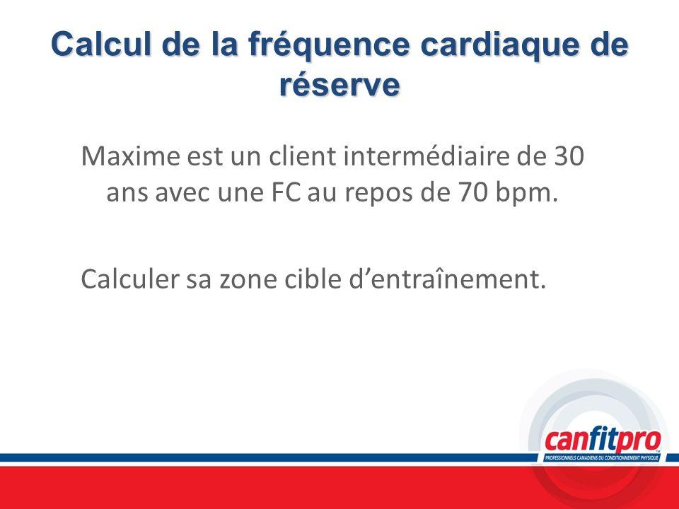 Calcul de la fréquence cardiaque de réserve