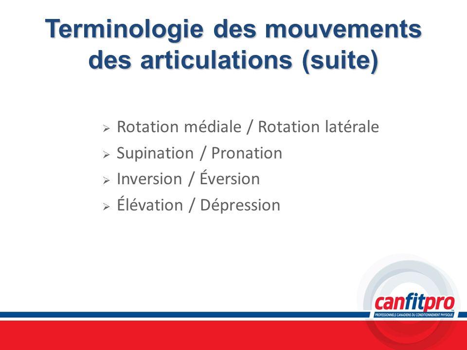 Terminologie des mouvements des articulations (suite)