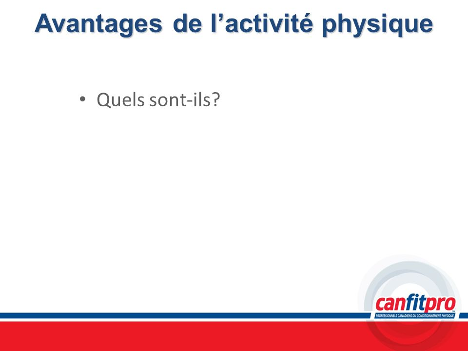 Avantages de l'activité physique