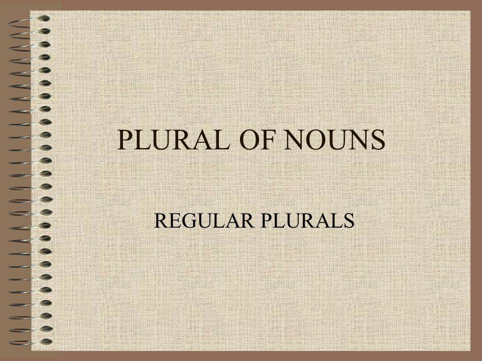 PLURAL OF NOUNS REGULAR PLURALS