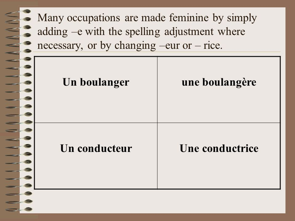 Many occupations are made feminine by simply adding –e with the spelling adjustment where necessary, or by changing –eur or – rice.