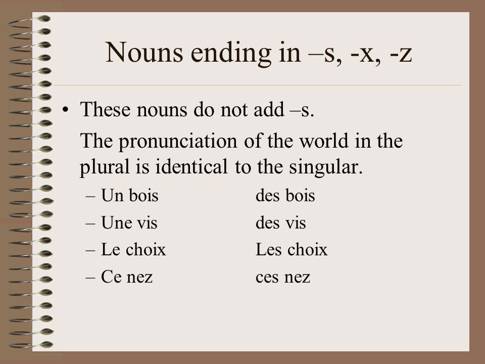 Nouns ending in –s, -x, -z These nouns do not add –s.