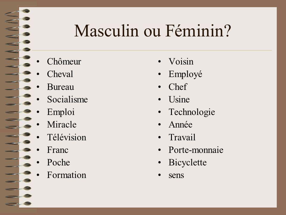 Masculin ou Féminin Chômeur Cheval Bureau Socialisme Emploi Miracle