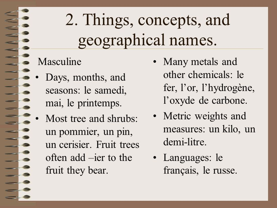 2. Things, concepts, and geographical names.