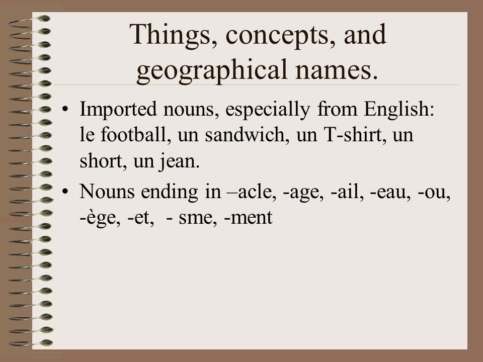 Things, concepts, and geographical names.