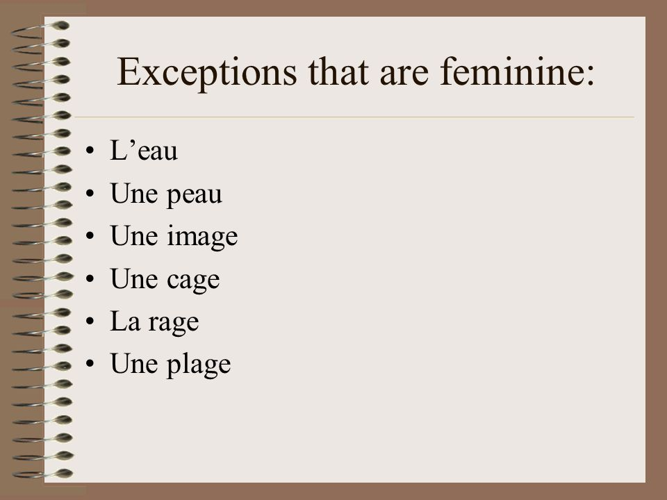 Exceptions that are feminine:
