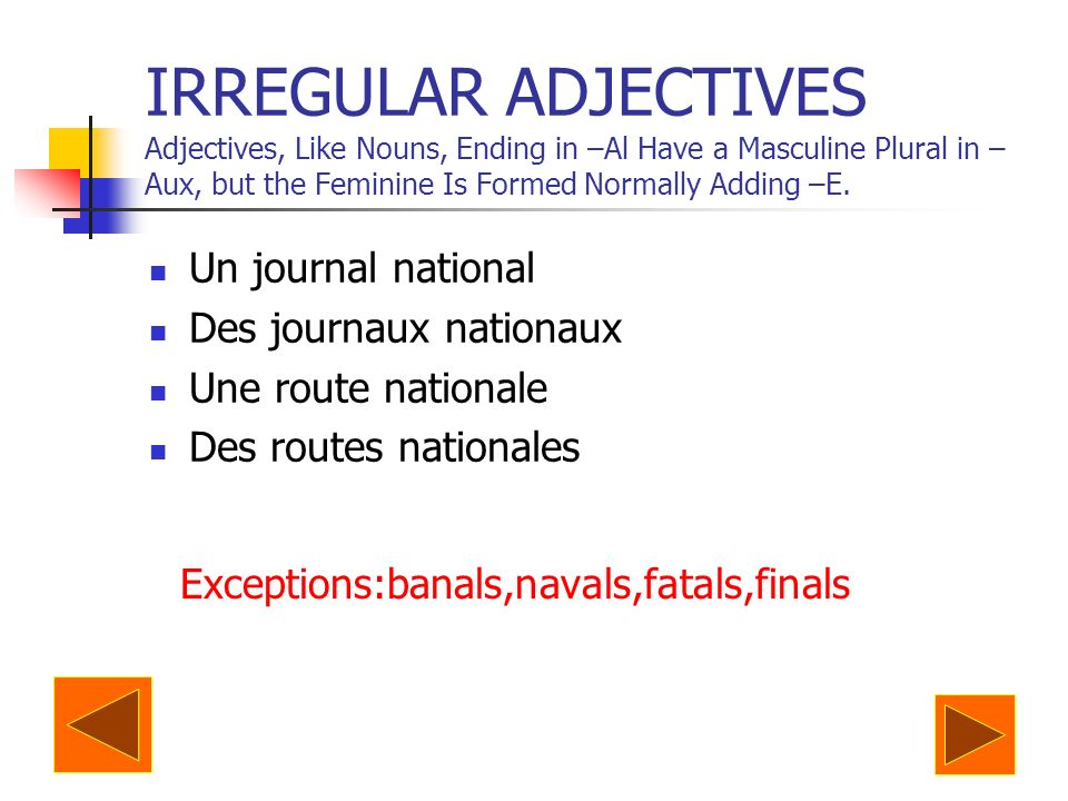 IRREGULAR ADJECTIVES Adjectives, Like Nouns, Ending in –Al Have a Masculine Plural in –Aux, but the Feminine Is Formed Normally Adding –E.