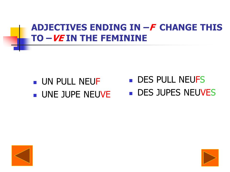 ADJECTIVES ENDING IN –F CHANGE THIS TO –VE IN THE FEMININE