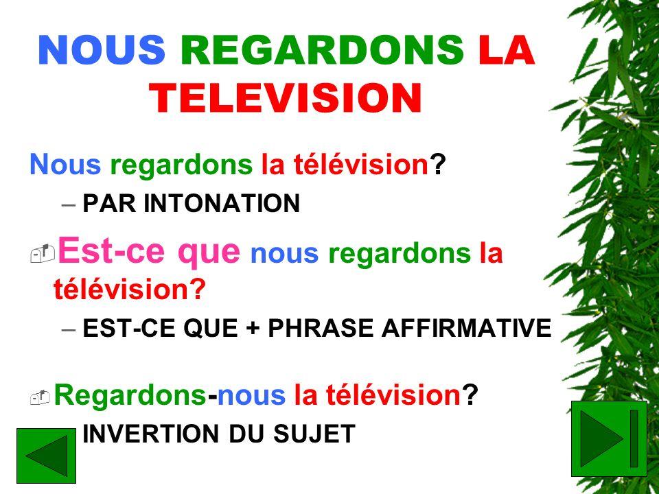 NOUS REGARDONS LA TELEVISION