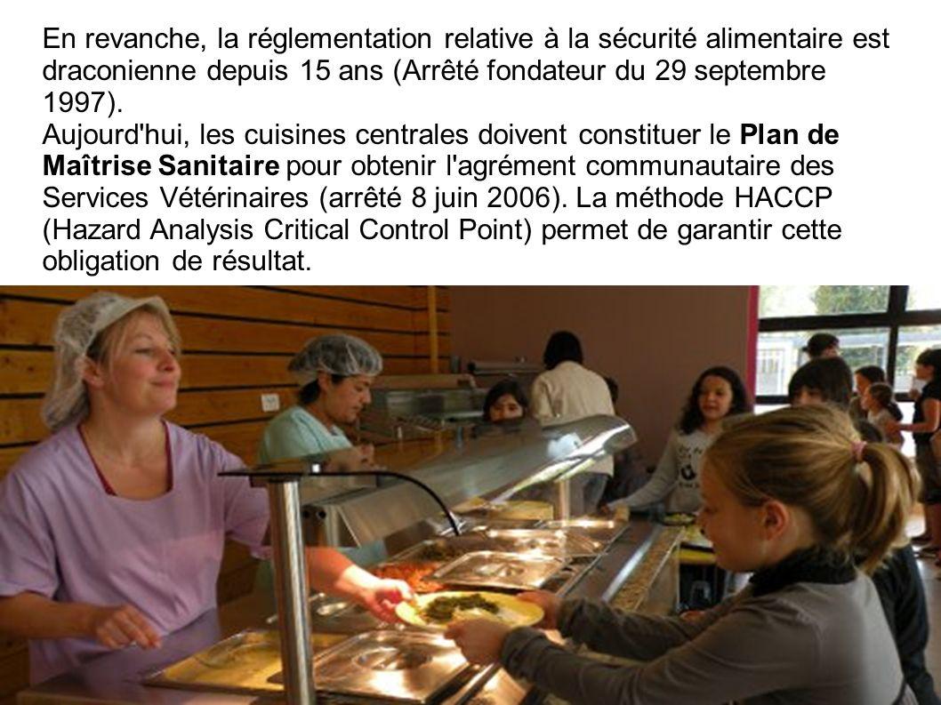 En revanche, la réglementation relative à la sécurité alimentaire est draconienne depuis 15 ans (Arrêté fondateur du 29 septembre 1997).