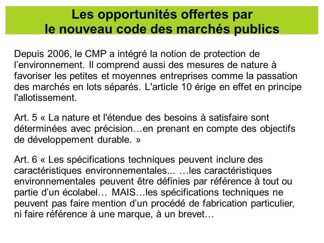 Les opportunités offertes par le nouveau code des marchés publics