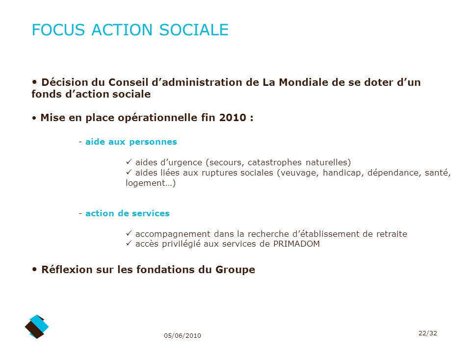 FOCUS ACTION SOCIALE Décision du Conseil d'administration de La Mondiale de se doter d'un fonds d'action sociale.