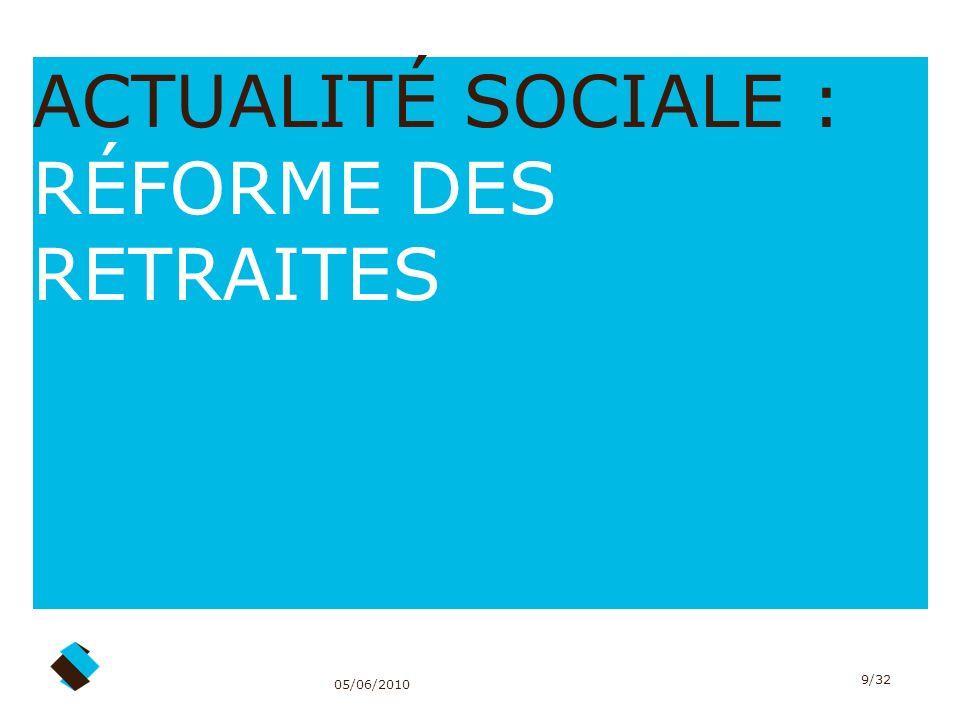 ACTUALITÉ SOCIALE : RÉFORME DES RETRAITES