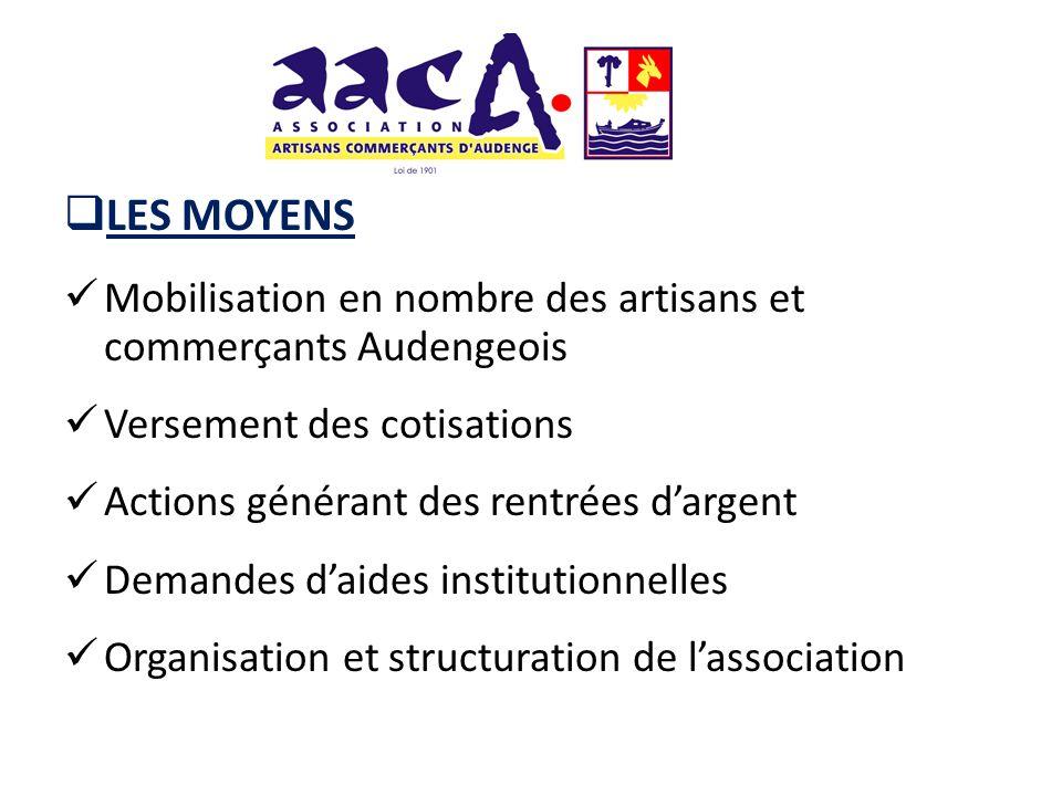 LES MOYENS Mobilisation en nombre des artisans et commerçants Audengeois. Versement des cotisations.
