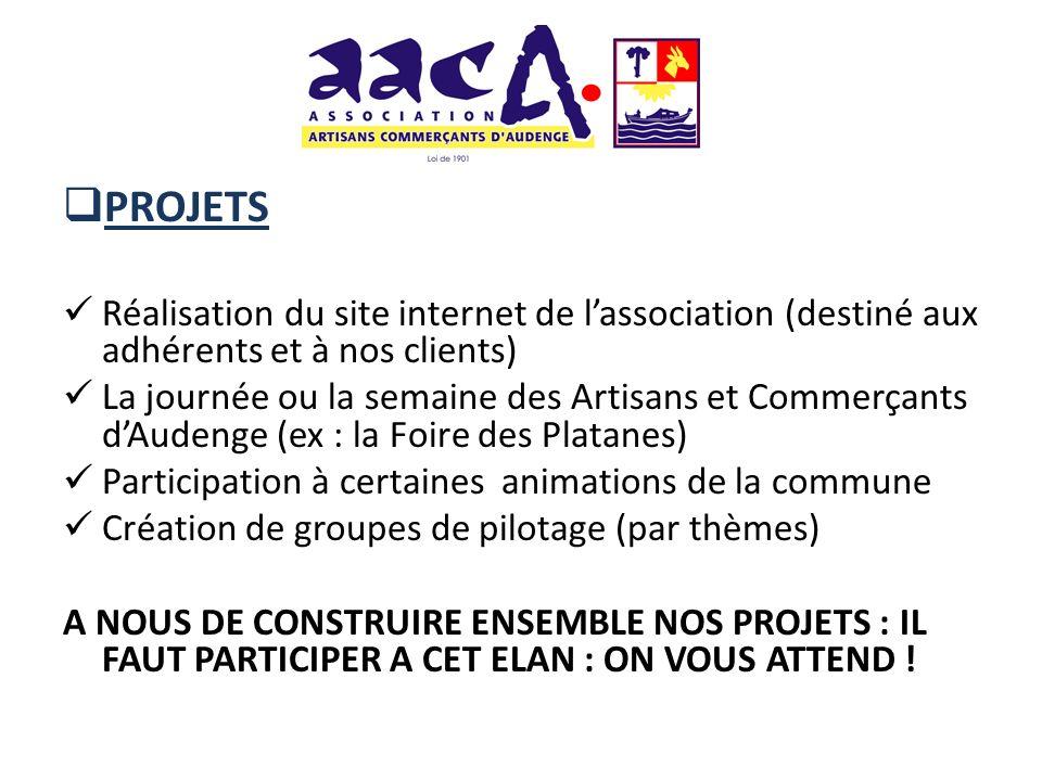 PROJETS Réalisation du site internet de l'association (destiné aux adhérents et à nos clients)