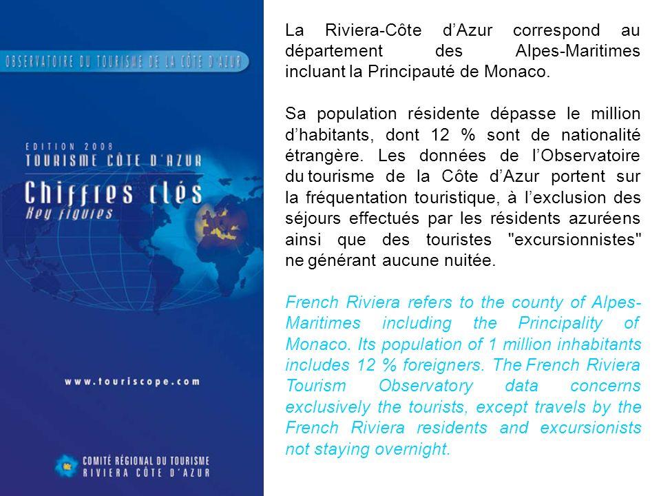 La Riviera-Côte d'Azur correspond au département des Alpes-Maritimes incluant la Principauté de Monaco.
